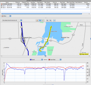 The race as seen by my GPS/heart rate monitor